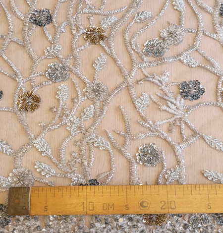 Grey beaded lace fabric. Photo 9