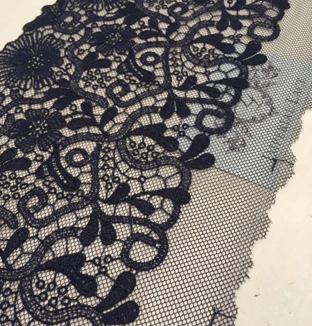Blue-gray embroidery on soft black tulle. Photo 3