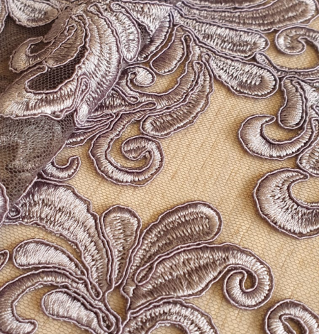 Grey embroidery lace fabric. Photo 8