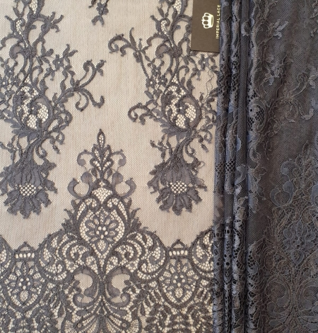 Greyish brown floral pattern chantilly lace fabric. Photo 6