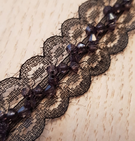 Black with dark violet beads chantilly lace trimming. Photo 4