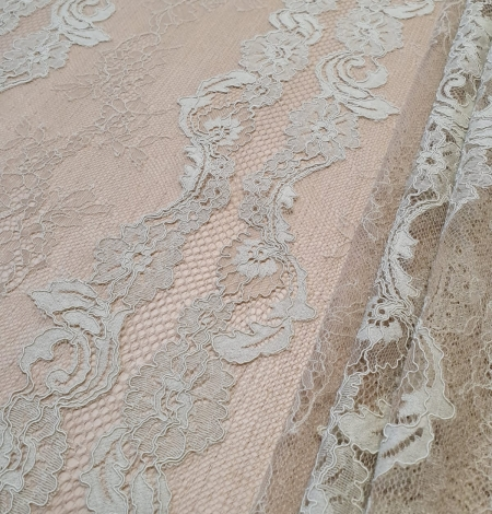 Mint on beige tulle guipure lace fabric. Photo 8