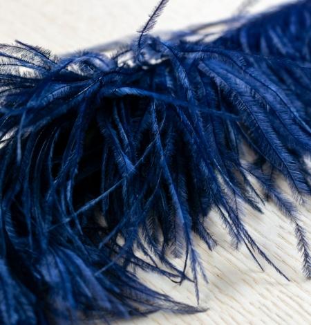 Dark blue natural ostrich feather. Photo 4