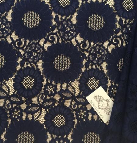 Dark Blue Lace Fabric. Photo 2