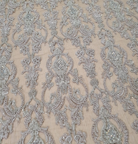 Lilac grey beaded lace fabric. Photo 4