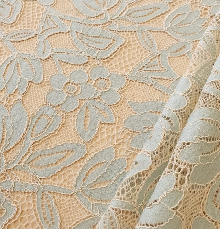 Beige with blue 70% cotton with 30% polyester guipure lace fabric . Photo 7