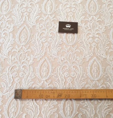 Ivory beaded lace fabric. Photo 7