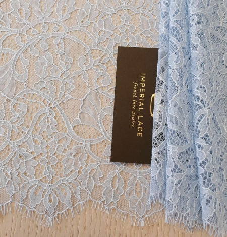 Light blue floral pattern chantilly lace trimming. Photo 2