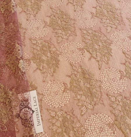 Raspberry red with gold metallic thread natural lace fabric. Photo 2