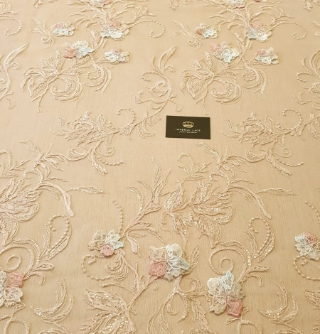 Multicolor floral 3D embroidery on beige tulle fabric. Photo 9