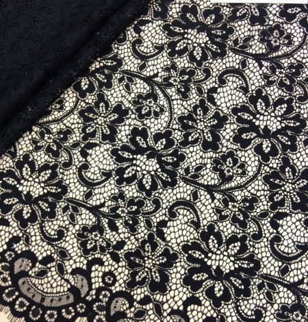 Black lace fabric . Photo 1