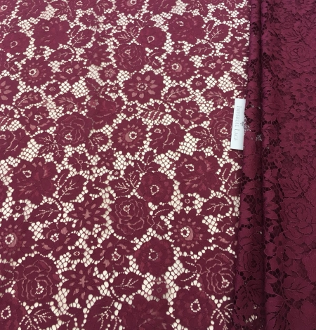 Wine red lace fabric. Photo 2