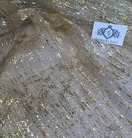 Nude pleated tulle fabric with gold spotting. Photo 10