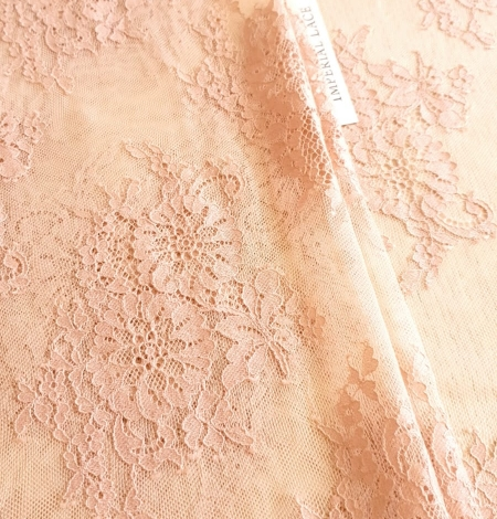 Powder color Chantilly lace fabric . Photo 3