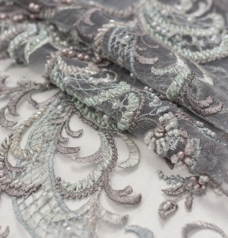 Grey beaded embroidery lace fabric. Photo 5