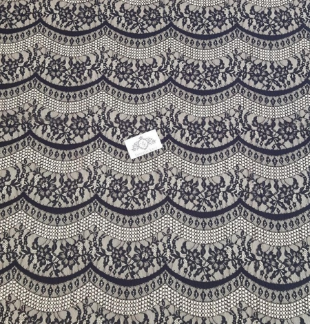 Black lace fabric, French Lace, Alencon Lace. Photo 5