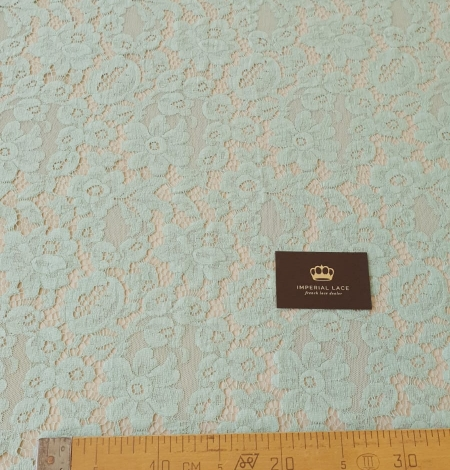 Mint green cotton guipure lace fabric . Photo 7