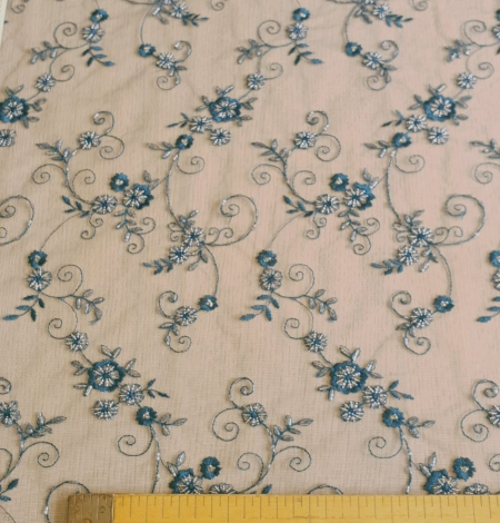 Turquoise embroidery lace fabric. Photo 6