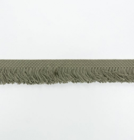 Olive green ribbon with fringes on one side. Photo 6