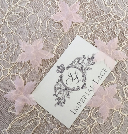 Peach pink organza fabric flowers per 5 pieces. Photo 2