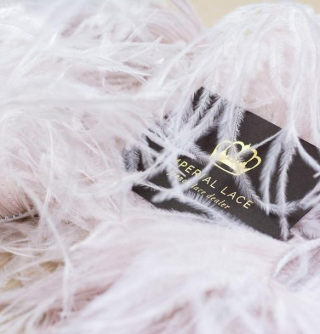 Light pink with grey shade soft natural ostrich feather. Photo 3