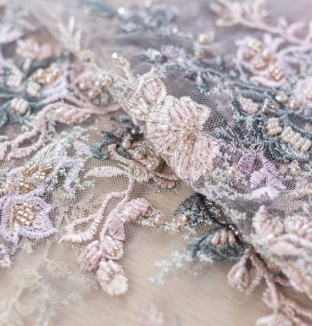Dark greyish pink embroidery on light grey tulle fabric. Photo 3
