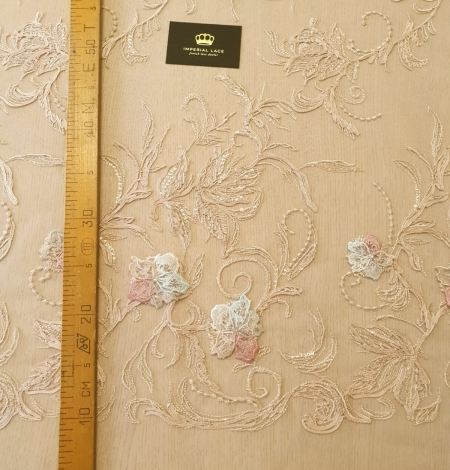Multicolor floral 3D embroidery on beige tulle fabric. Photo 10