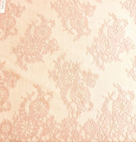 Powder color Chantilly lace fabric . Photo 5
