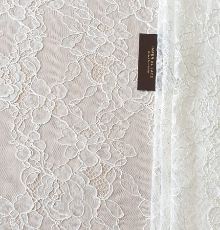 Ivory chantilly lace with thick thread lace fabric . Photo 8