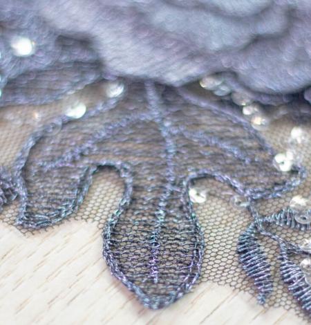 Dark grey 3D floral beaded lace applique 2 pcs set . Photo 3