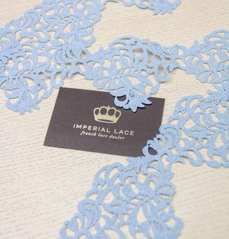 Light blue light macrame floral pattern lace trimming. Photo 4