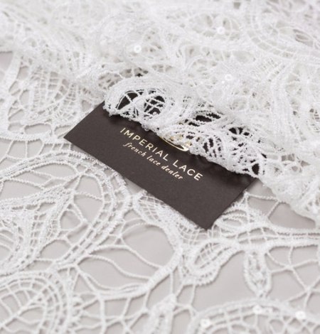 Off white acrame beaded floral lace fabric. . Photo 1