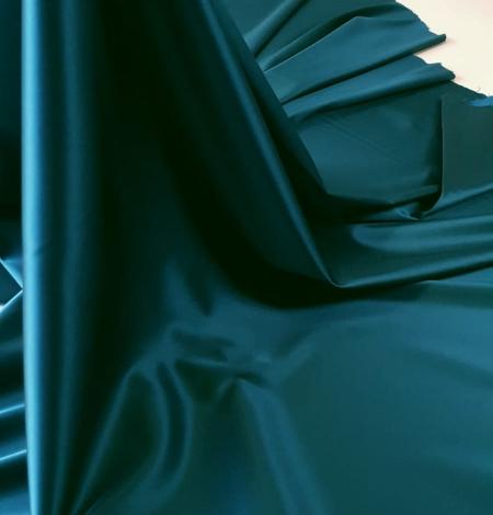 Sea blue polyester with elastane satin fabric. Photo 4