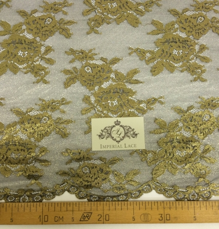 Black Lace Fabric with gold ink. Photo 3