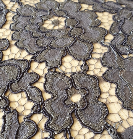 Grey floral pattern cord thread guipure lace fabric. Photo 6