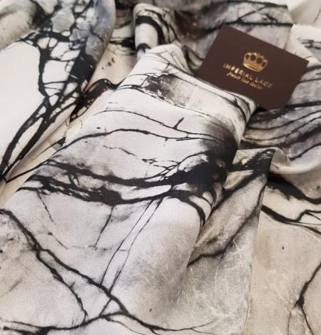 White and black marble pattern silk crepe chiffon fabric . Photo 4