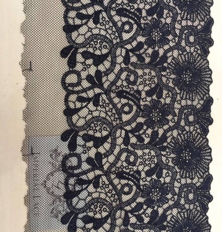 Blue-gray embroidery on soft black tulle. Photo 2