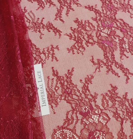 Bordo red chantilly lace fabric. Photo 1