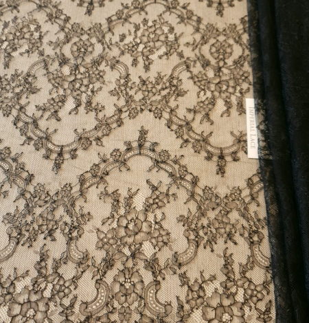 Dark navy lace fabric. Photo 4