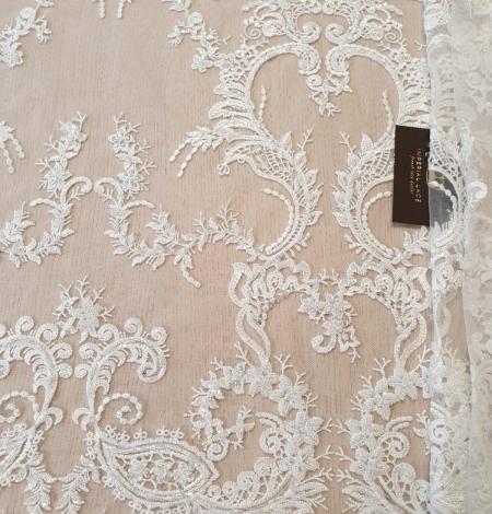 Ivory beaded lace fabric. Photo 2