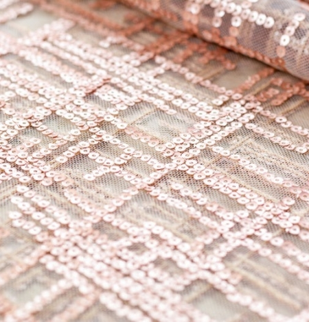 Rose gold sequins embroidered fabric . Photo 3