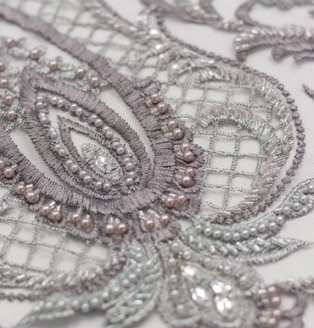 Grey beaded embroidery lace fabric. Photo 4