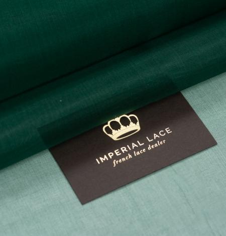 Emerald green silk organza fabric. Photo 1