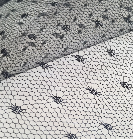 Black stiff tulle fabric with dots. Photo 3