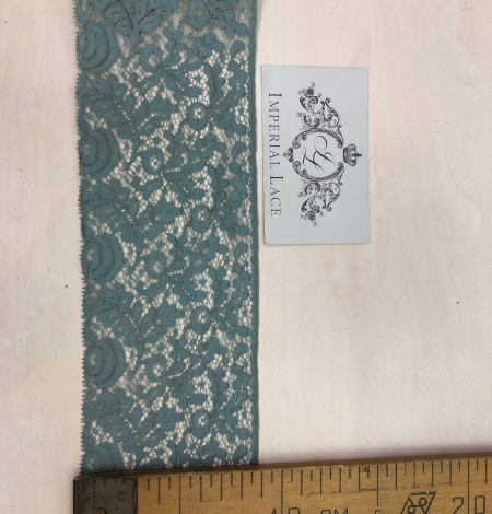 Blue-green with grey shade vintage style lace trim. Photo 8
