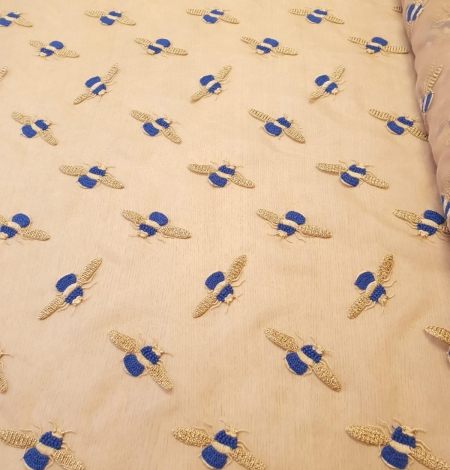 Beige with golden blue bee embroidery on organza fabric. Photo 7