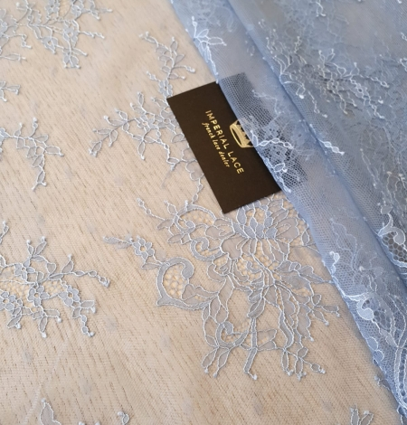 light blue floral pattern chantilly lace fabric. Photo 4