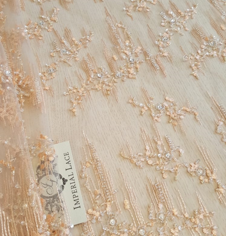 Peach beaded lace fabric. Photo 6