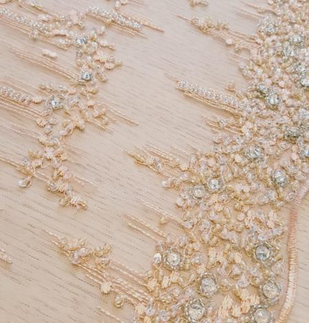 Peach beaded lace fabric. Photo 4