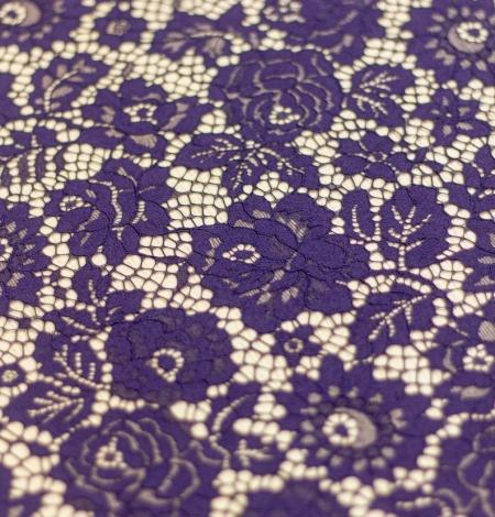Dark purple floral guipure lace fabric . Photo 6